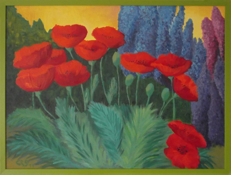 Poppies and larkspurs
